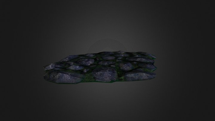 Mossy Rock Ground - Low Poly 3D Model