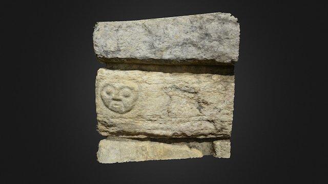 Face on Kuelap building block, Peru