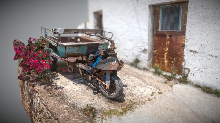 Old Custom Made Tricycle Bike 3D Model