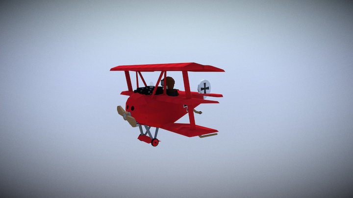 Stylized 1917 Fokker DR.1 (aka the Red Baron) 3D Model