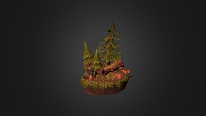Hand Painted Forest Scene 3D Model