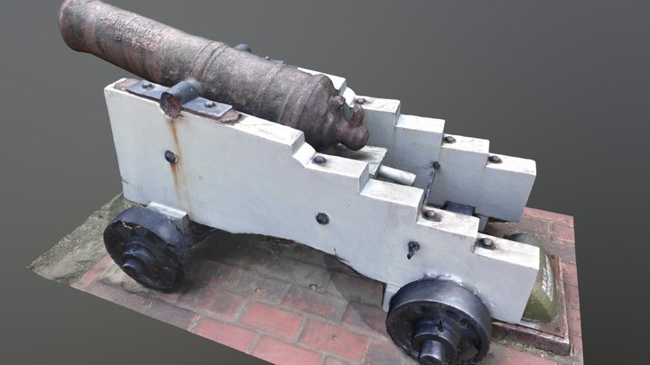 500 catties Chinese iron gun 1985 3D Model