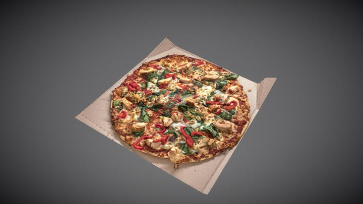 Spinach Roasted Red Pepper and Chicken Pizza 3D Model