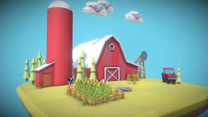 Low Poly Farm 3D Model