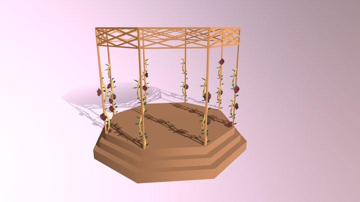 Pérgola Com Rosas 3D Model