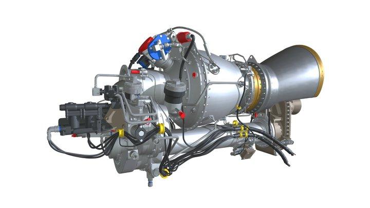 Turbomeca Arriel 2 Turboshaft Helicopter Engine 3D Model