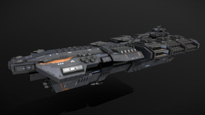 Scifi Battleship Leviathan 3D Model