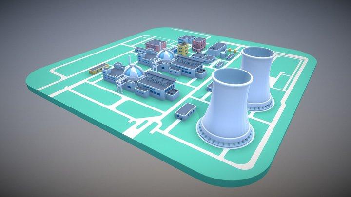 Nuclear powerplant lowpoly scene 3D Model