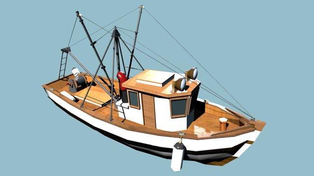 Stylized trawler (fishing boat 3D Model