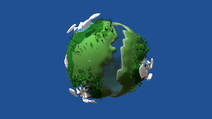 Low Poly Imaginary Planet 3D Model