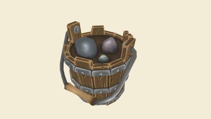 Handpainted Bucket of Rocks 3D Model