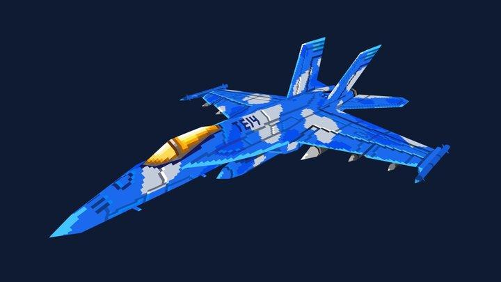 Low Poly Pixel Hornet 3D Model