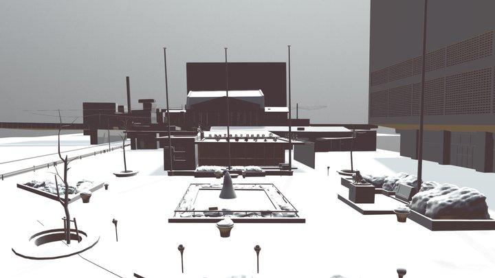 Shibuya Station square in 1964 3D Model