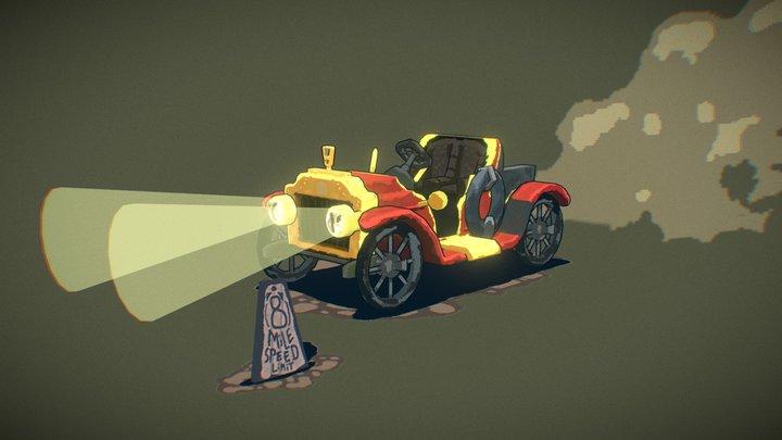 Retro car stylized 3D Model