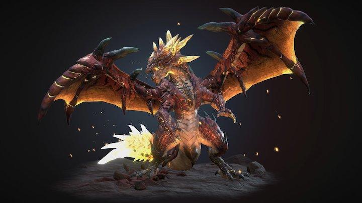 Caudeus, Magma Tail Dragon 3D Model
