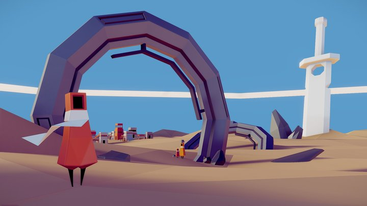 THE FORGOTTEN SANDS  |  LOW POLY GAME LEVEL 3D Model
