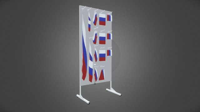 Stand & Flags 3D Model