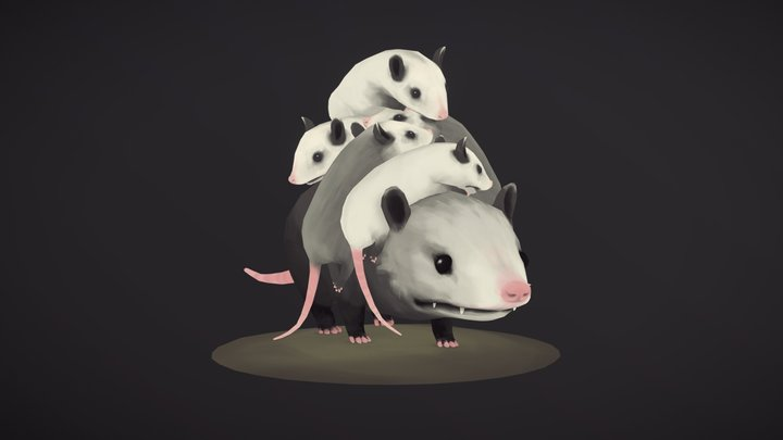 Opossum Mom 3D Model