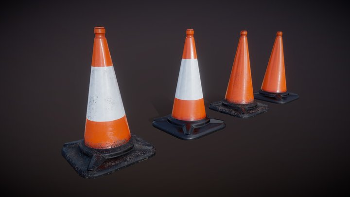 Road Cone Set #1 (Low Poly/PBR/Unity ready) 3D Model