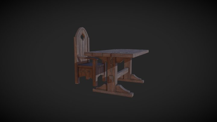 Wooden Table and Chair 3D Model