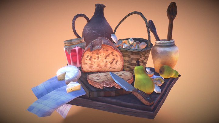 Stylized hand painted food scene 3D Model