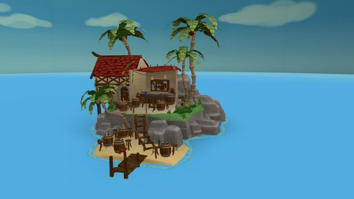 Where's the rum gone - stylized pirate island 3D Model