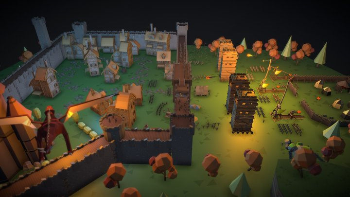 Siege at night #MedievalRemixChallenge 3D Model