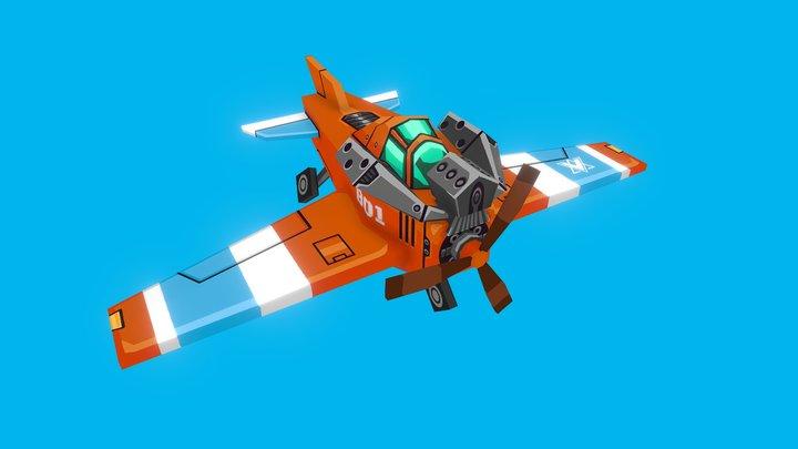 Orange Army Attack Plane 3D Model