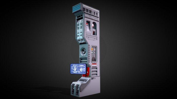 Sci Fi Wall Bridge With Monitor 3D Model