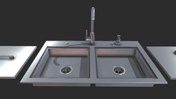 """37"""" ADA Double Sink Item No - ADASK37 3D Model"""