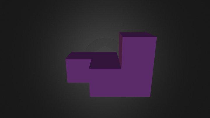 Purple Puzzle Cube Piece 3D Model