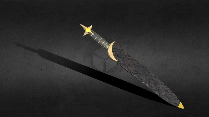 The Dagger of The Crescent Moon (in sheath) 3D Model