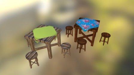 桌椅 3D Model
