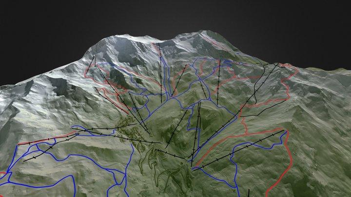 Val Thorens ski map 3D Model