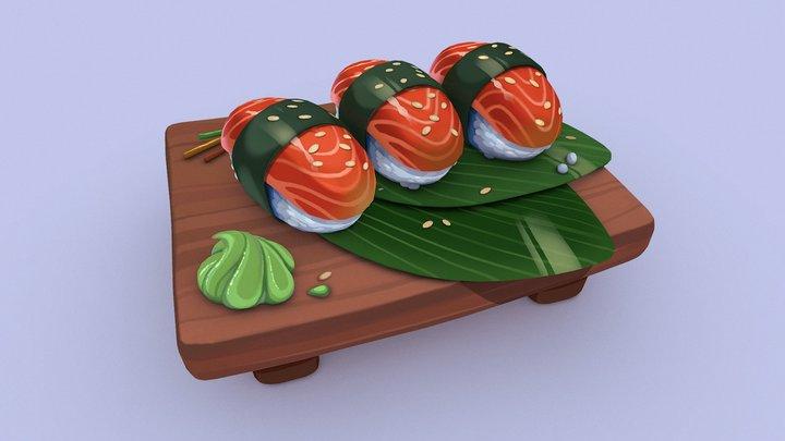 Sushi Platter 3D Model