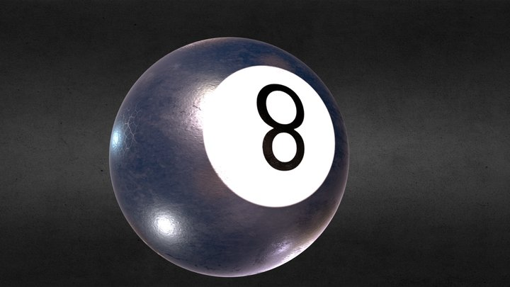 FREE HQ PBR GAME MODEL - OLD BILLIARD BALL 3D Model