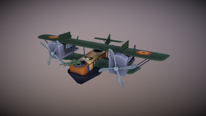 Handpainted Felixstowe F.2a (late) (Stylized) 3D Model