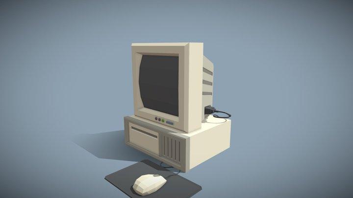 Retro Computer & Monitor 3D Model
