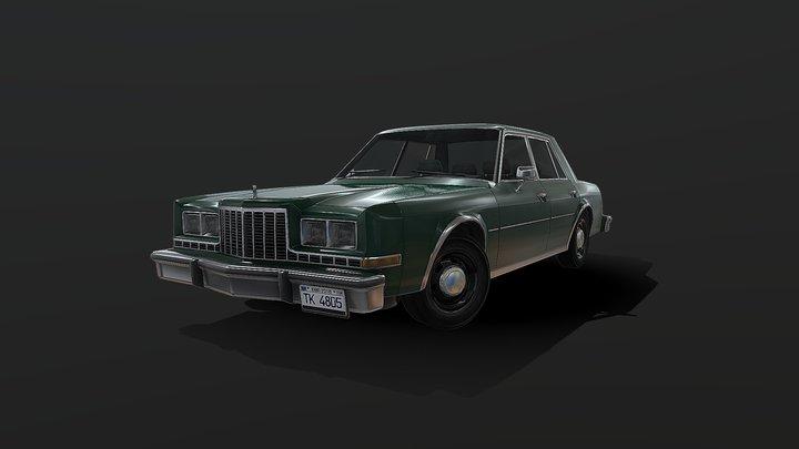 80 American Sedan - Low poly model 3D Model