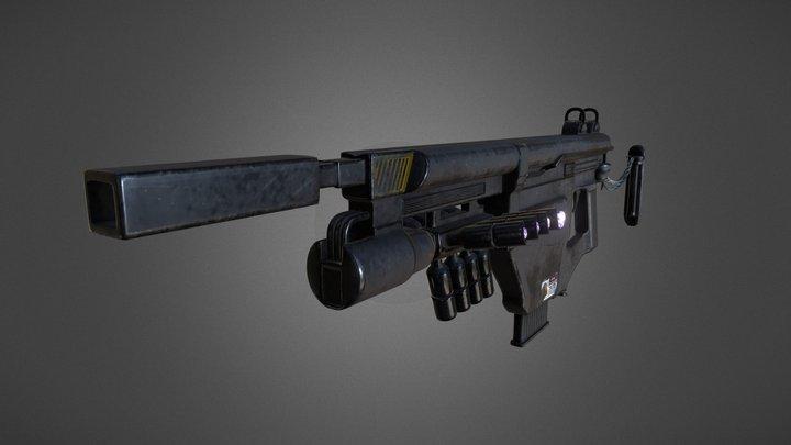 Futuristic Submachine Gun 3D Model