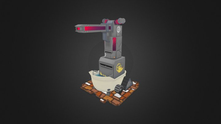 Laser Turret with Bathtub 3D Model