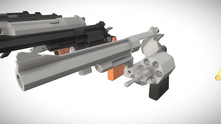 「Low Poly」S&W Model 29 | Beretta 93R | Hudson H9 3D Model