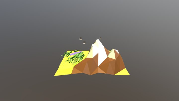 mountains with lake 3D Model