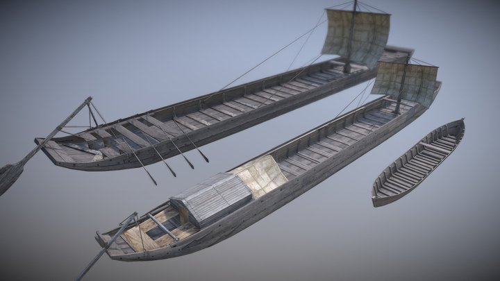 3 Romeinse schepen 3D Model