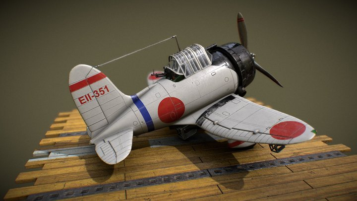 Toon AICHI_D3A_VAL naval aviation 3D Model