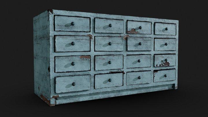 Old Filing Cabinet 3D Model