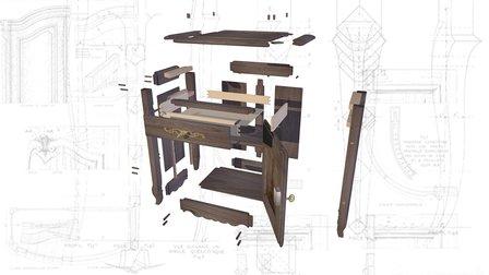 Buffet Noyer éclaté de construction 3D Model