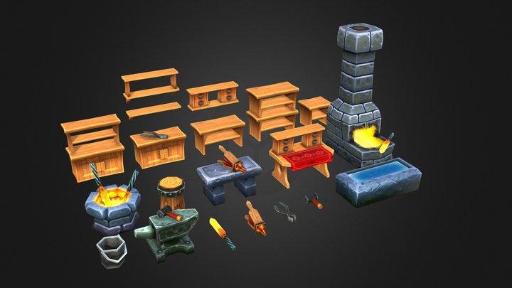 Blacksmiths Furniture 3D Model