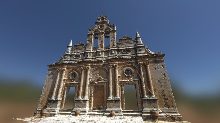 Front Point Cloud of Arkadi Temple Monastery 3D Model