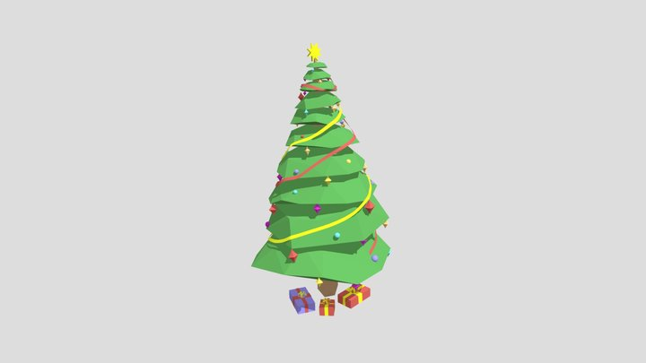Low Poly Decorated Christmas Tree with Presents 3D Model